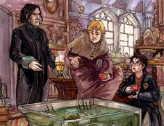 Snape bringing Lupin the Wolfsbane potion