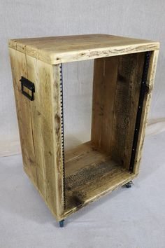 rack cabinet made from reclaimed wood with castor wheels and flight case handles
