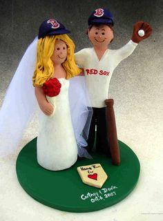 Boston Red Sox Wedding Cake Topper  BostInno cakepins.com