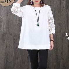 Women Hollowed Lace Chiffon Splicing Three Quarter Sleeves White Shirt