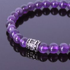 Handmade Men Women Gemstone Bracelet Amethyst 925 Sterling Silver Chrome Heart Style DiyNotion BR419E