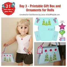 Printable gift box and ornaments for dolls from DollPlaySA.com for DollDiaires.com
