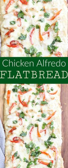 Pinterest image for chicken Alfredo flatbread.