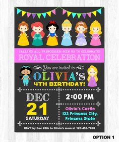 Invitación princesa invitación princesa Disney princesa