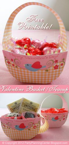 Free printable valentine basket, teacup template in two colors and printable Valentines!