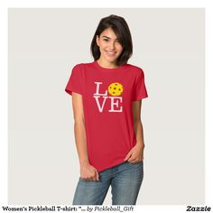 "Women's Pickleball T-shirt: ""LOVE"" (Red) Tee Shirt! Many styles & colors…"