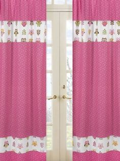 Pink Happy Owl Window Treatment Panels by Sweet Jojo Designs - Set of 2:Amazon:Baby