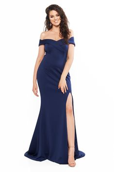 A&N Curve Ester Ponti Off-Shoulder Gown with Slit - Navy Gown With Slit, Slit Dress, Curve Prom Dresses, Formal Dresses, Plus Size Prom, Plus Size Dresses, Off Shoulder Gown, Satin Gown, Bridesmaid Dresses