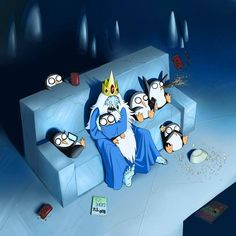 The Ice King watching a movie with Gunter and his other penguins :) Adventure Time