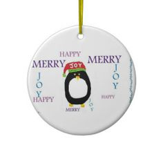 PENGUIN JOY HAPPY MERRY CHRISTMAS Ornament PENGUIN!!!! Absolutely adorable ornament for your Christmas tree!!! Cute and, did I mention, PENGUIN!!! :-)