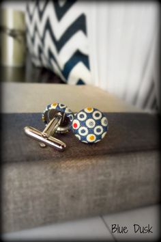 Cuff Links with Fabric Covered Buttons