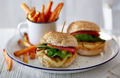 Halloumi burgers with red pepper houmous and sweet potato chips | Tesco Real Food