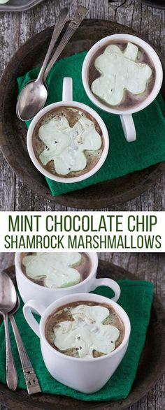 Mint Chocolate Chip Shamrock Marshmallows - a fun homemade marshmallow recipe for St. Patrick's Day.