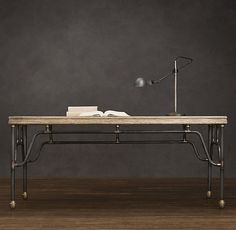 Love this one, too. Too big for my office, not good for setting up keyboard drawer that I must have, but still great look. Similar to the DIY Apartment Therapy desk I pinned.