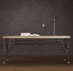Inspiration for DIY pipe table - French Bistro Pipefitter's Desk, Restoration Hardware.