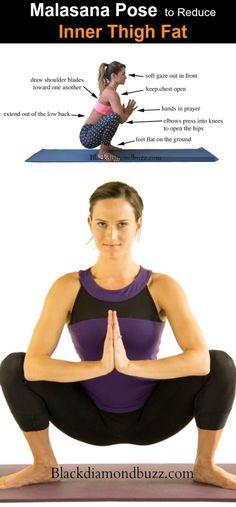 Malasana Yoga pose to Reduce Inner Thigh Fat #healthandfitness