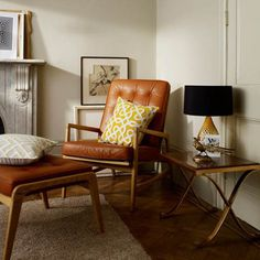 Living by Christiane Lemieux Lars occasional chair - House of Fraser Retro Interior Design, Design Interiors, Interior Styling, House Of Fraser, Living Room Colors, Leather Sofa, Tan Leather, Living Room Furniture, Living Spaces