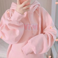 WIWIWI Embroidery Hoodie Sweatshirt sold by Littlepinko. Daddy Aesthetic, Pink Aesthetic, Aesthetic Clothes, Kawaii Fashion, Cute Fashion, Petite Fashion, Fall Fashion, Style Fashion, Girl Outfits