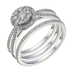 9ct white gold 0.50ct diamond round halo bridal ring set - Product number 1640747