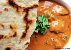 Paleo Butter Chicken with PALEO Naan. This is authentic and healthy indian food! -My Heart Beets I have been craving Indian butter chicken for a while now. Thank goodness it's Paleo :) Whole 30 Recipes, Whole Food Recipes, Cooking Recipes, Paleo Naan, Healthy Indian Recipes, Healthy Food, Paleo Life, Paleo Dinner, Recipes Dinner