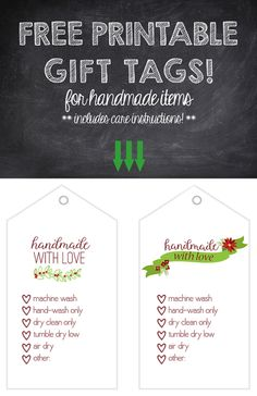 Free printable gift tags handmade with love templates pinterest free printable gift tags holiday or christmas themed for knit crochet or woven negle Choice Image