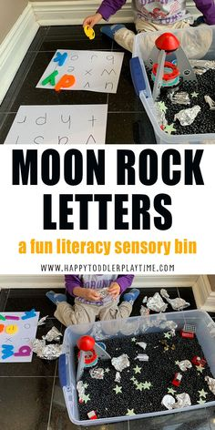 Moon Rock Letters is a super fun and easy to create space themed letter matching activity and sensory bin for toddlers and preschoolers. Space Activities For Kids, Printable Activities For Kids, Preschool Themes, Alphabet Activities, Toddler Preschool, Preschool Crafts, Kids Crafts, Sensory Bins, Sensory Activities
