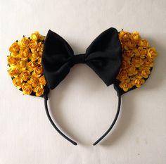 Yellow/Orange Colored Flower Minnie Ears Roses Disney Handmade Headband by BellsNGems on Etsy