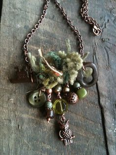 Skeleton key necklace - owl