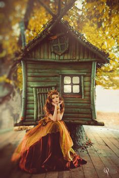 Russian fairytale enchanted | Lonely princess | green and orange | Untitled by Tatiana Quetzal