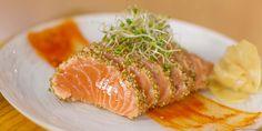 Seared salmon with sesame seed crust