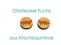 Holzohrstecker - Holzohrstecker Ohrstecker Fuchs - ein Designerstück von SchmuckNatur bei DaWanda