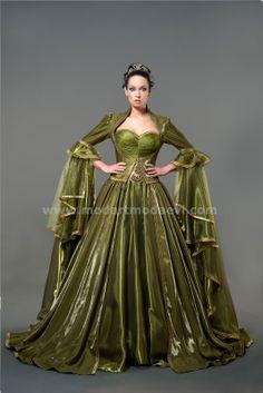yeşil osmanlı kaftanlı elbise (bu kıyafet osmanlı kıyafetleri içerisinde yer alıcak)   yağ yeşili, organze, monaray, savoroski taşlı kemer, simli tül drape,iç elbise bağcıklı, gold kenar suyu