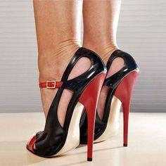 Shoespie Summer Sky High Stiletto Heels - Another! High Heels Stilettos, High Heel Boots, Heeled Boots, High Shoes, Platform High Heels, Black High Heels, Black Sandals, Black Stiletto Heels, Lace Up Heels