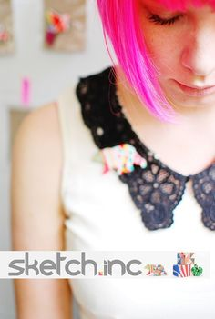 neon, graphic brooches