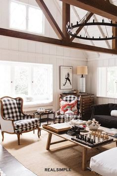 30 Easy and Unique Living Room Decorating Ideas | Feeling nervous about introducing a pattern? Alexis Garrett of Alexis Garrett Design makes it look easy in her own living room. Pairing the color in the gingham pattern with the rest of the colors in the living room helps it all feel cohesive. #realsimple #livingroomdecor #livingroomideas #details #homedecorinspo Beautiful Living Rooms, Real Simple, Gingham, Living Room Decor, Sweet Home, Decorating Ideas, Rest, Colors, Unique