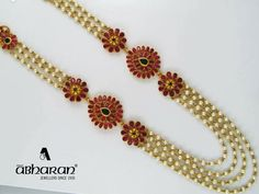 Beaded Jewelry Designs, Gold Earrings Designs, Bead Jewellery, Necklace Designs, Pearl Jewelry, Indian Jewelry, Pendant Jewelry, Gold Jewelry, Pearl Necklace