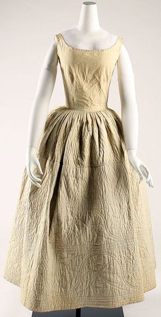 Quilted cotton bodiced petticoat, probably American, mid-19th C. (ca. 1845).