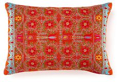Pushkar 14x20 Embroidered Pillow, Red on OneKingsLane.com