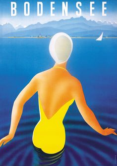 Bodensee, Germany (Lake Constance) vintage travel poster by Dietrich, 1950.