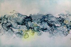 """Abstrakt maleri /Abstract Painting """"Concentrated"""" 100x150 cm.  Moderne farverigt maleri i blå og grønne toner."""