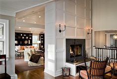 1000 images about fireplaces mantles on pinterest - Fireplace between two rooms ...