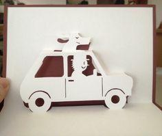 Dog traveler pop-up card (Template from Handmade Papercraft club at: http://www5d.biglobe.ne.jp/~m-uet/90dlpage.html)