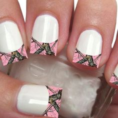 Pink Camo Nail Decals 20-Pack French Tip 1