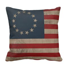 Betsy Ross Vintage Look Early American Flag Throw Pillow  #Zazzle #Pillow #HomeDecor #America #History #Flag