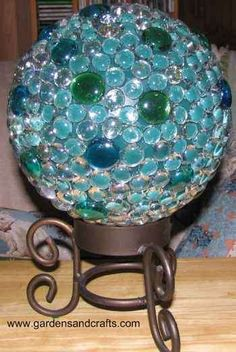 Bowling ball repurposed into a garden sphere.