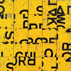 Tiger Tiger 1987 Retro-reflective road signs on plywood. Diptych, each panel 112 x 112 cm. Museum of Contemporary Art, gift of Loti and Victor Smorgon, Image courtesy Roslyn Gallery, Sydney © the artist's estate Yellow Road Signs, Photomontage, Tapestry Kits, Word Board, Design Art, Graphic Design, Creative Typography, Color Psychology, Museum Of Contemporary Art