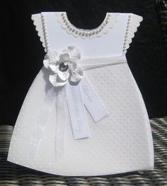 dress card with embossing, pearls, ribbon and flowers Baptism Cards, Baby Christening, Baby Girl Cards, New Baby Cards, Christening Invitations Girl, Dress Card, Shaped Cards, Handmade Baby, Kids Cards