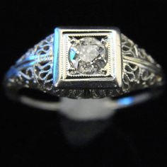 Art Deco Old European Cut Diamond 14k White Gold Engagement Ring Vintage Antique