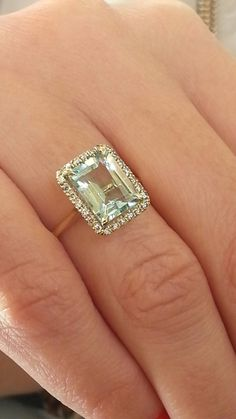Unique 14K Gold Emerald Cut Aquamarine Ring Pave Diamond Engagement Ring Wedding Ring Fine Jewelry Promise ring cocktail ring Unique rings