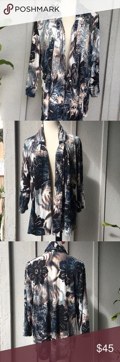 NWOT Easywear Flower Print 3/4 Sleeves Cardigan Bold flower print on black and blue tone sets this beautiful lightweight cardigan. Hip length, 3/4 sleeves, shawl collar and drape detail. Chico's Sweaters Cardigans